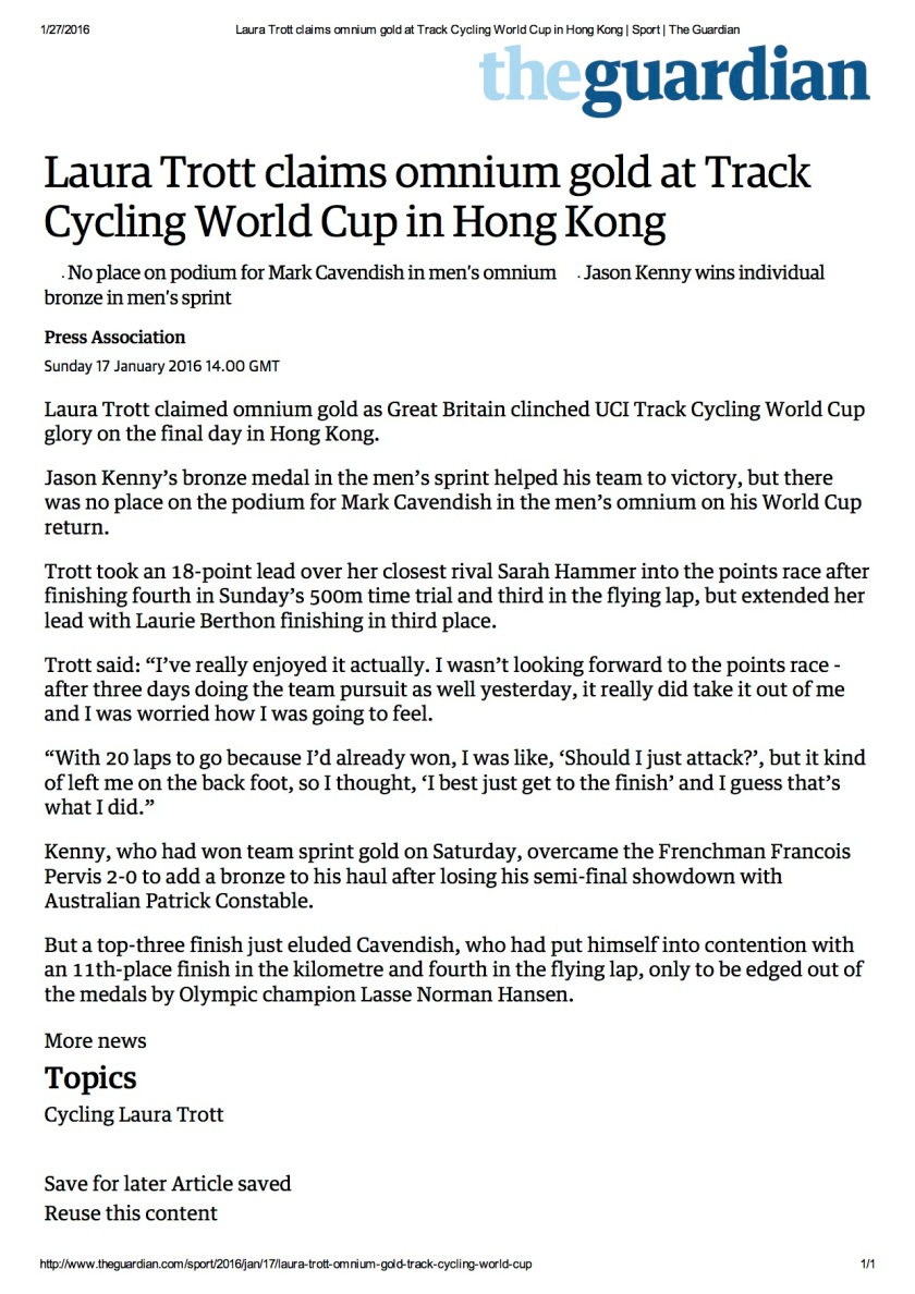 Laura Trott claims omnium gold at Track Cycling World Cup in Hong Kong _ Sport _ The Guardian copy